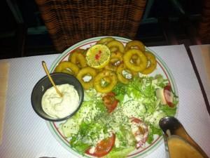 Salade et calamar